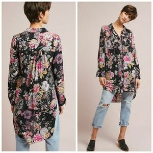 Anthro Maeve Autumnal Floral Glitter Tunic